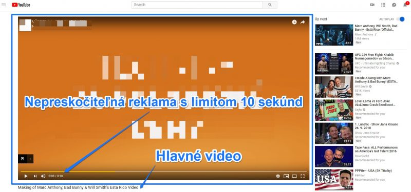 Nepreskočiteľná video reklama youtube