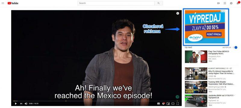 Obsahová reklama youtube